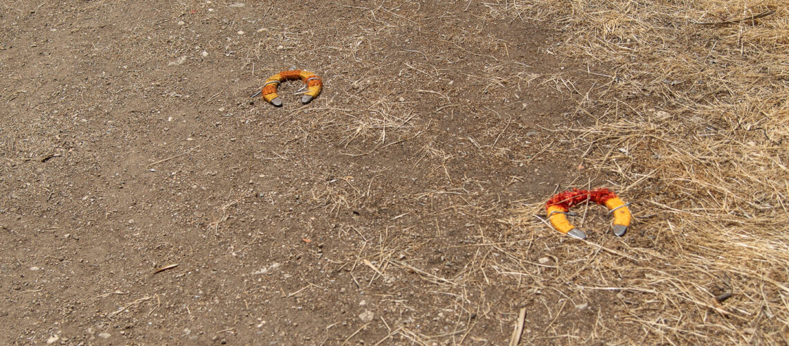 Horse shoes turned into art object with fiber